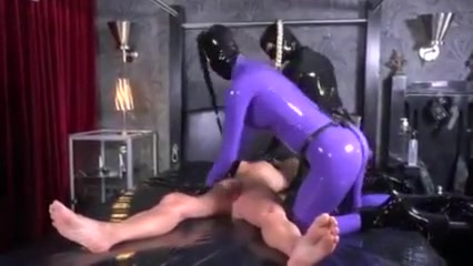 2 Latex Fetish Girls Fuck A Guy With Strapon In Threesome
