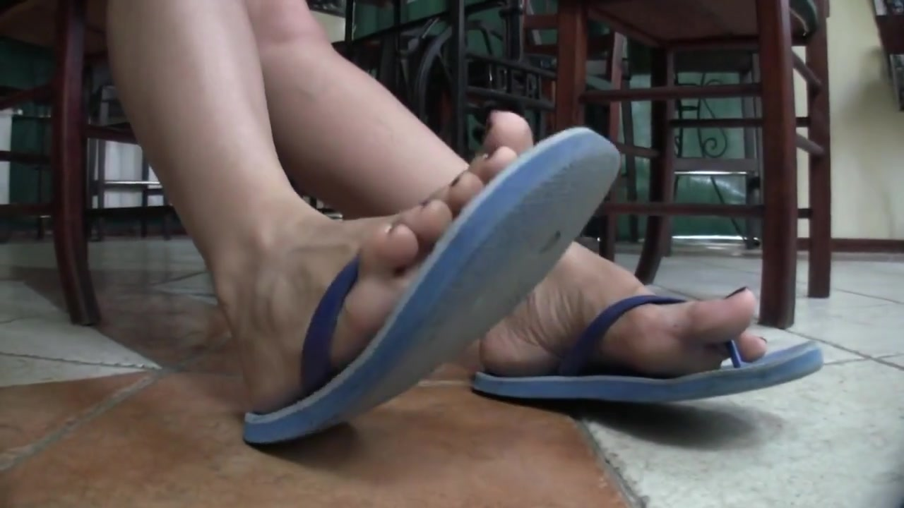 Hot Girl Has Adored Flip-Flops