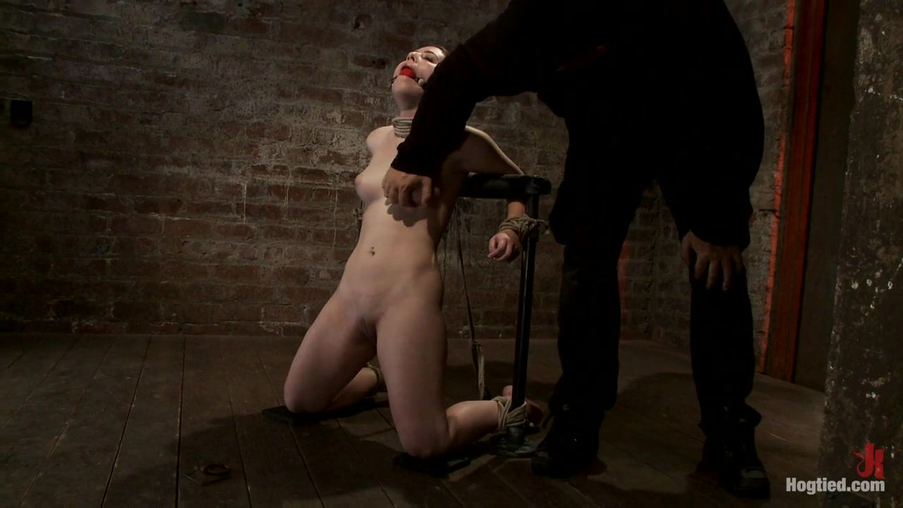 Local Girl Next Door Tied Tight & Helpless, Flogged, Nipple Clamped, Made To Suck Dick, & Cum - Hogtied