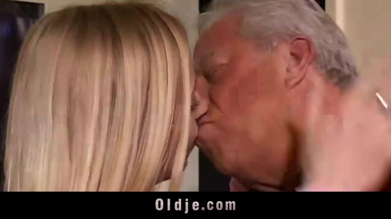 Two old bastards fucks a hot blonde