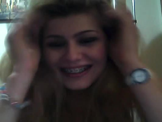Blonde with braces plays naughty