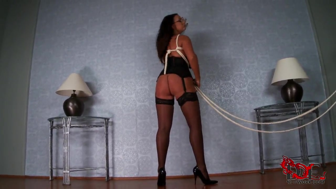 hot brunette milf emma butt teases us with her big boobs and huge ass being bondage in her own room