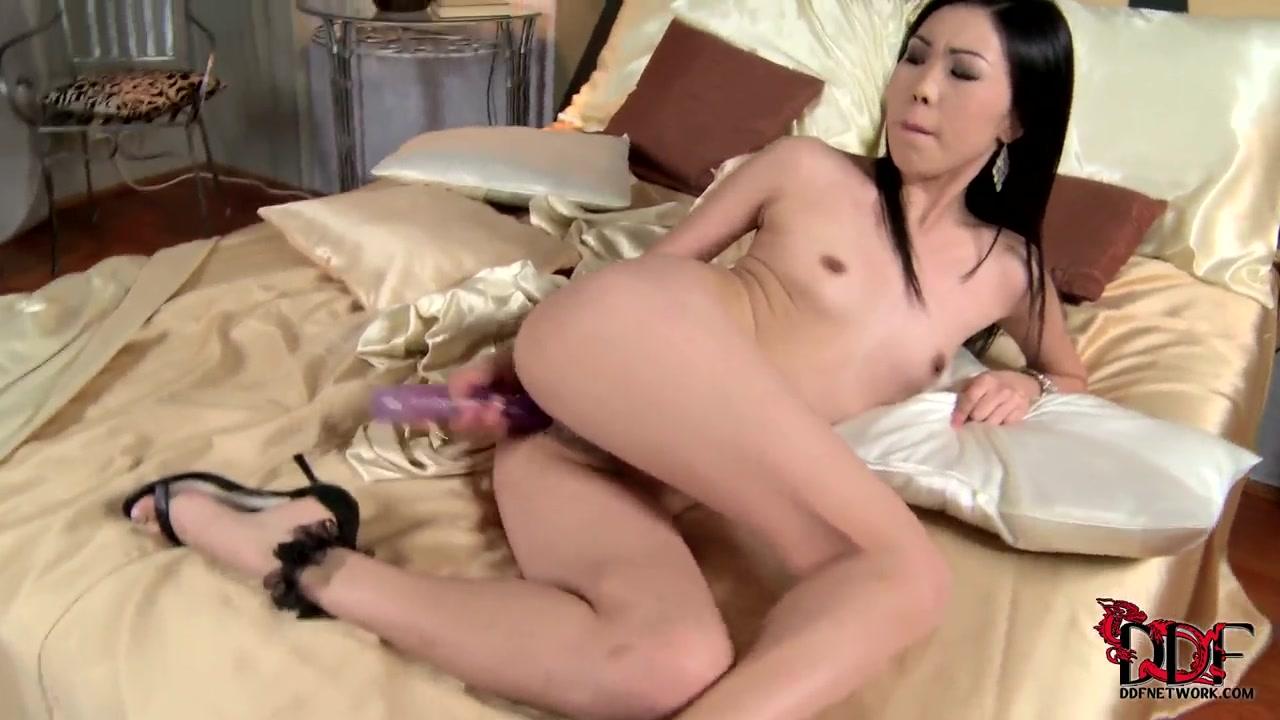Nasty brunette Nicoline penetrates her tight hole