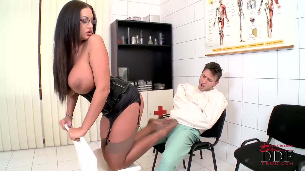 huge brunette slut emma butt wears sexy leather corset and high-heeled shoes and make fun of her boyfriend.