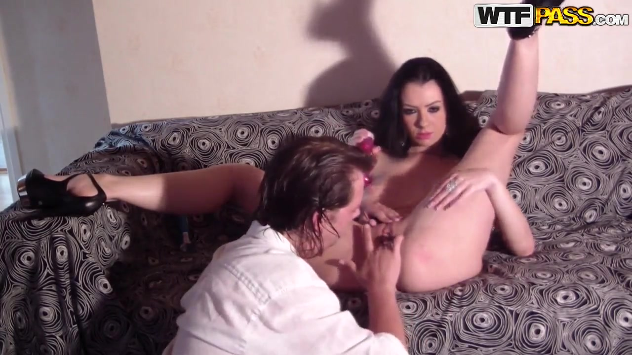 busty brunette in the shoes ella plays with her boyfriend